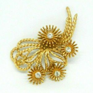 MARVELLA Vintage Gold Tone Brooch Pin Flower Clear